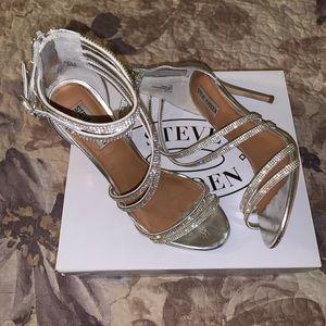 Women's Silver Strappy Heels